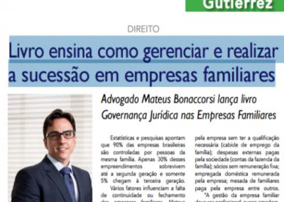 Jornal Gutierrez – Livro ensina como gerenciar e realizar a sucessão em empresas familiares